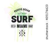 vintage watercolor summer surf... | Shutterstock .eps vector #405176623