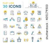 set vector line icons in flat... | Shutterstock .eps vector #405179503