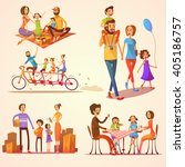 family retro cartoon set with... | Shutterstock .eps vector #405186757