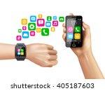 transferring data from... | Shutterstock .eps vector #405187603