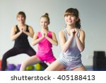 girls and instructor or mother... | Shutterstock . vector #405188413