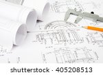 architecture plan and rolls of... | Shutterstock . vector #405208513