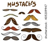 mustaches in vector. set on... | Shutterstock .eps vector #405209947