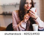 woman typing write  message on... | Shutterstock . vector #405214933