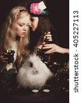 alice in wonderland with little ... | Shutterstock . vector #405227113