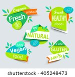 Modern vector set of healthy organic food labels, tags, emblems, logo for meal and drink,cafe, restaurants and  products packaging.Vector illustrated. | Shutterstock vector #405248473