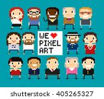different pixel art characters  ... | Shutterstock .eps vector #405265327