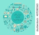 back to school doodle set.... | Shutterstock .eps vector #405280363