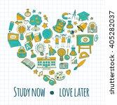 back to school doodle set.... | Shutterstock .eps vector #405282037