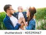 young hipster father in glasses ... | Shutterstock . vector #405290467