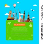 travel background with famous... | Shutterstock .eps vector #405314347