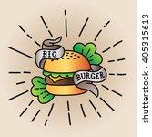 old school burger logo sticker...   Shutterstock .eps vector #405315613