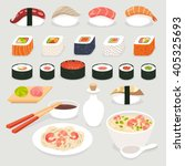 sushi set. sushi vector cartoon ... | Shutterstock .eps vector #405325693