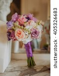 purple  peach and white wedding ... | Shutterstock . vector #405326683