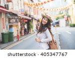 portrait of happy girl traveler ... | Shutterstock . vector #405347767