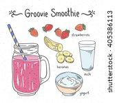 groovy smoothie fruit drink.... | Shutterstock .eps vector #405386113