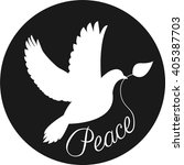 Silhouette Of Peace Dove With...