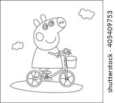 pepa pig on a bicycle line  | Shutterstock .eps vector #405409753