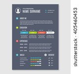 vector resume cv template a4... | Shutterstock .eps vector #405460453