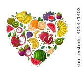 fruit heart. various summer... | Shutterstock .eps vector #405471403