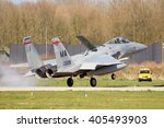 Small photo of LEEUWARDEN, NETHERLANDS - APR 11, 2016: Massachusetts Air National Guard F-15 Eagle landing at Leeuwarden base. The ANG is in Europe for a 6-month deployment in support of Operation Atlantic Resolve.