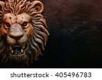Golden Lion Head Statue On...