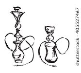 hookahs are drawn in black ink. | Shutterstock .eps vector #405527467