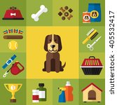 vector set of cute dog care... | Shutterstock .eps vector #405532417