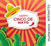 mexican sombrero hat ... | Shutterstock .eps vector #405544753