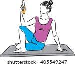 woman yoga drinking beer...