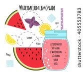 recipe of lemonade with... | Shutterstock .eps vector #405553783