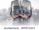 double exposure of business man ... | Shutterstock . vector #405571417