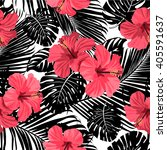 tropical flowers and leaves on... | Shutterstock .eps vector #405591637