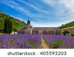 provence valley with abbey... | Shutterstock . vector #405593203