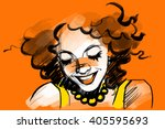 beautiful smiling woman face... | Shutterstock .eps vector #405595693