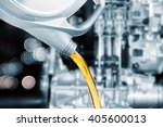 pouring oil lubricant motor car ... | Shutterstock . vector #405600013
