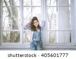 fashionable beautiful young... | Shutterstock . vector #405601777