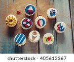 group of summer cupcakes on... | Shutterstock . vector #405612367