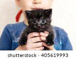 Stock photo boy holding cat little black kitten portrait in kid hands 405619993