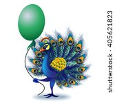 greeting card with peacock.  | Shutterstock . vector #405621823