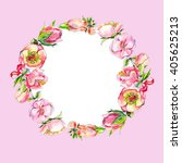 wreath of pink watercolor... | Shutterstock . vector #405625213