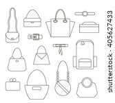 bags and handbag linear icons... | Shutterstock .eps vector #405627433