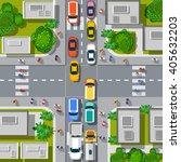 urban crossroads with cars   Shutterstock . vector #405632203