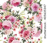 seamless floral pattern with... | Shutterstock . vector #405635347