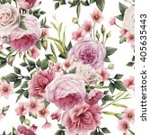 seamless floral pattern with... | Shutterstock . vector #405635443