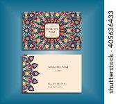 oriental business card mock up... | Shutterstock .eps vector #405636433