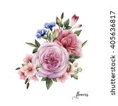 bouquet of roses  watercolor ... | Shutterstock . vector #405636817