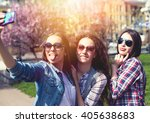 young teen girls making selfie... | Shutterstock . vector #405638683