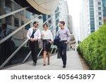 elegant businesspeople walking... | Shutterstock . vector #405643897