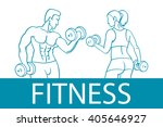 fitness with muscled man and... | Shutterstock .eps vector #405646927